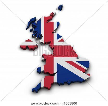 United Kingdom Flag Map Shape