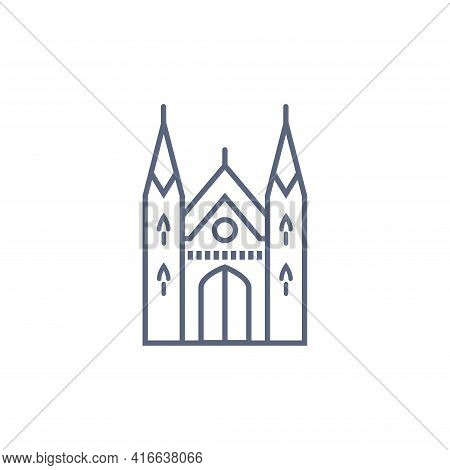 Cathedral Line Icon - Catholic Chapel Simple Linear Pictogram On White Background. Vector Illustrati