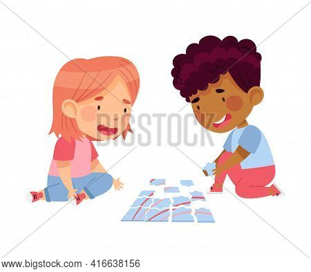 Happy Little Boy And Girl Playing Jigsaw Puzzle On The Floor Vector Illustration
