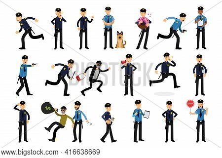 Young Men As Police Officers With Truncheon And Pistol On Duty Vector Illustration Set