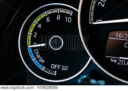 Engine Start Of Electric Car On The Dashboard.