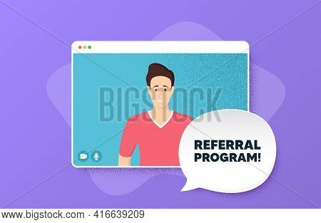 Referral Program Symbol. Video Conference Online Call. Refer A Friend Sign. Advertising Reference. M