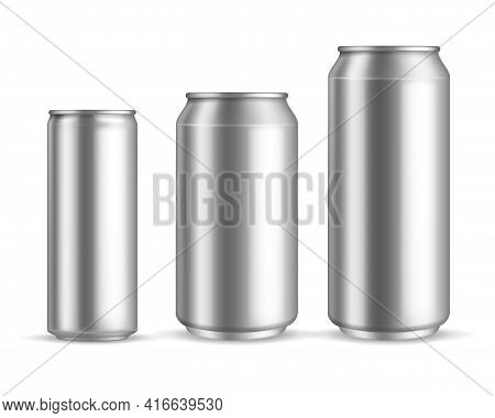 Aluminum Cans Realistic. Metallic Blank Beer Or Soda, Water Or Juice Can, Silver Empty Drink Packagi
