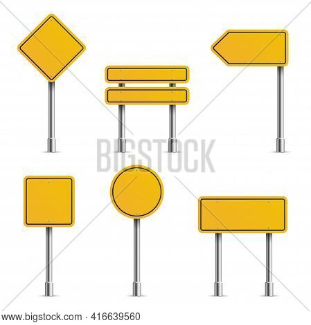 Yellow Road Signs. Empty Traffic Highway Speed Street Metal Sign Collection, Stop Safety Boards, Bla
