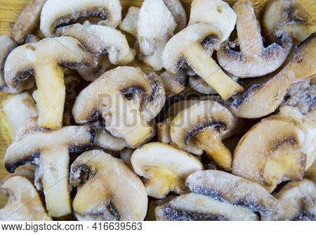 Mushrooms Quick-froze Cut Into Slices, Useful Products Vitamins