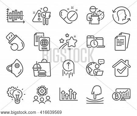 Science Icons Set. Included Icon As Diagram Chart, Documents, Face Id Signs. Medical Pills, Bitcoin
