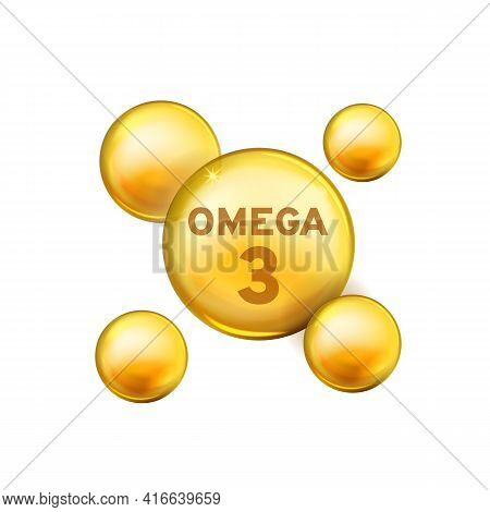 Vitamin Drop. Omega 3 Fish Oil Capsule, Gold Essence Organic Nutrition Element. 3d Yellow Bubbles Wi