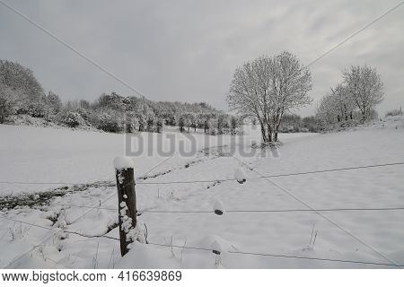 Fields And Meadows On A Frosty Winter Morning