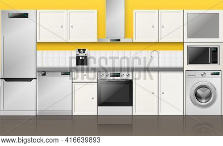 Realistic Kitchen Interior. 3d Built In Metallic Appliances, Cabinet Furniture And Cupboards, Yellow