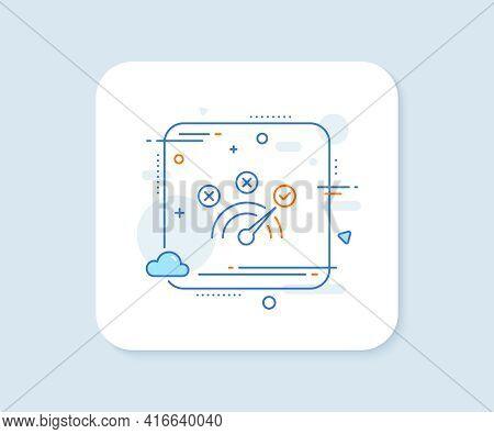 Correct Answer Line Icon. Abstract Square Vector Button. Speedometer Concept Sign. Check Symbol. Cor