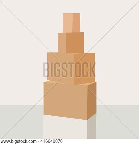 Cardboard Boxes On A Floor. Isolated On White Background. Stock Image. Online Purchases From China,