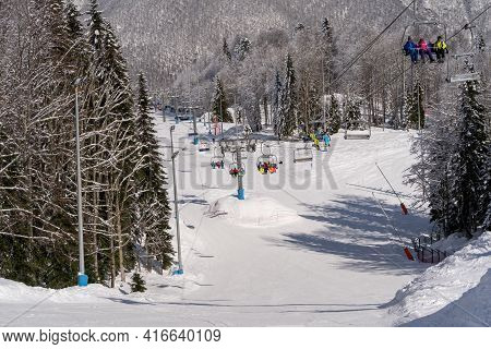 March 27, 2021 , Krasnaya Polyana Ski Resort,sochi, Russia : Skiers And Snowboarders In The Slopes A