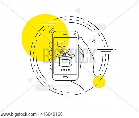 Hat-trick Line Icon. Mobile Phone Vector Button. Magic Tricks With Hat And Rabbit Sign. Illusionist