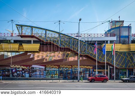 Budapest, Hungary, March 2020, View Of Lehel Market Hall And Shopping Centre Building