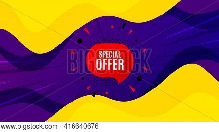 Special Offer Sticker. Fluid Liquid Background With Offer Message. Discount Banner Shape. Sale Coupo