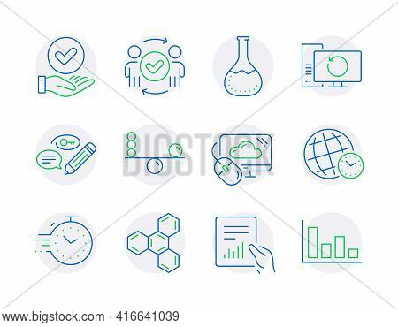 Education Icons Set. Included Icon As Recovery Computer, Balance, Approved Teamwork Signs. Document,