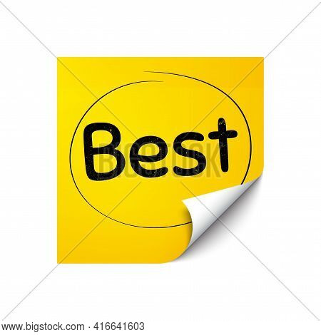 Best Sign. Sticker Note With Offer Message. Special Offer Sale Sign. Advertising Discounts Symbol. Y