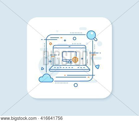 Computer Or Monitor Icon. Abstract Vector Button. Service Cogwheel Sign. Personal Computer Symbol. M