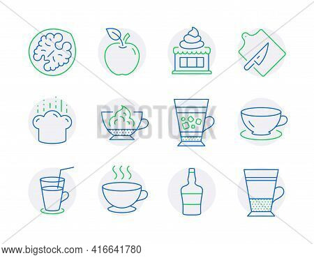 Food And Drink Icons Set. Included Icon As Espresso, Apple, Frappe Signs. Espresso Cream, Cooking Ha