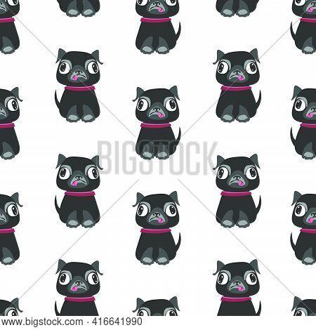 Seamless Pattern Of Pug Dog.