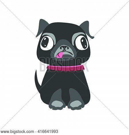 Black Pug Breed Dog Puppy. Flat Vector Illustration