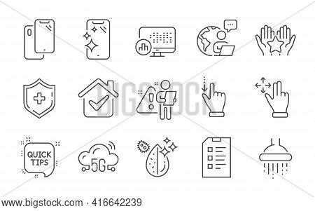 5g Cloud, Dirty Water And Checklist Line Icons Set. Report Statistics, Move Gesture And Smartphone C