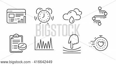Line Graph, Web Report And Timeline Line Icons Set. Time Management, Timer And Rainy Weather Signs.