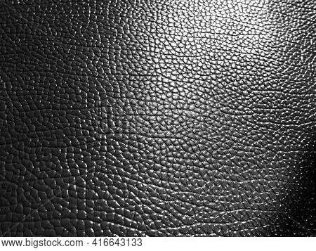 Leather Texture. Black And White Monochrome Photography. Close-up. Black Artificial Leather, Materia