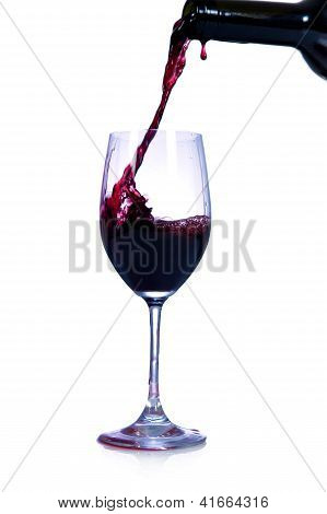 Red Wine Pouring From Bottle