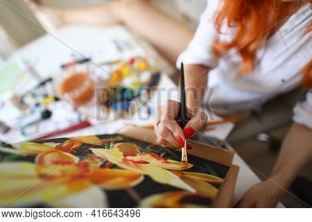 Top View Of Beautiful Woman Creating Masterpiece In Studio