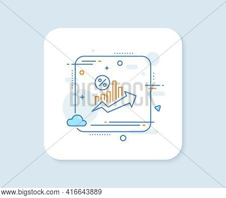 Loan Percent Growth Chart Line Icon. Abstract Square Vector Button. Discount Sign. Credit Percentage