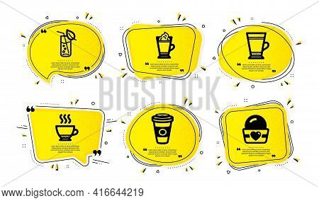 Latte Coffee, Latte And Espresso Icons Simple Set. Yellow Speech Bubbles With Dotwork Effect. Takeaw