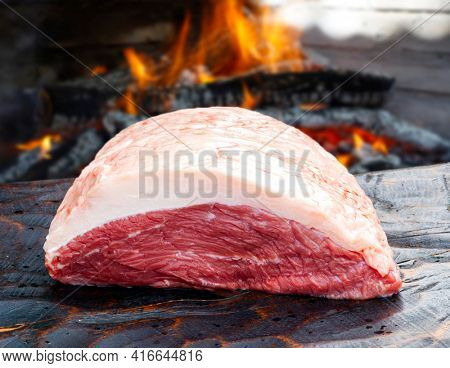 Brazilian Picanha. Raw meat food
