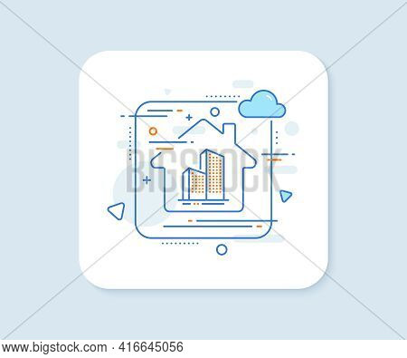 Skyscraper Buildings Line Icon. Abstract Vector Button. City Architecture Sign. Town Symbol. Skyscra