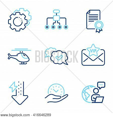 Business Icons Set. Included Icon As Safe Time, Settings Gears, Approved Signs. Energy Drops, Restru
