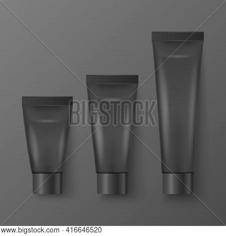 Vector 3d Realistic Plastic, Metal Black Tooth Paste, Cream Tube, Packing Set Isolated On Black Back