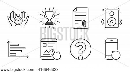 Trophy, Speakers And Recovery Phone Line Icons Set. Safe Time, Attachment And Question Mark Signs. H