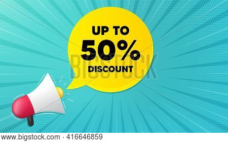 Up To 50 Percent Discount. Background With Megaphone. Sale Offer Price Sign. Special Offer Symbol. S