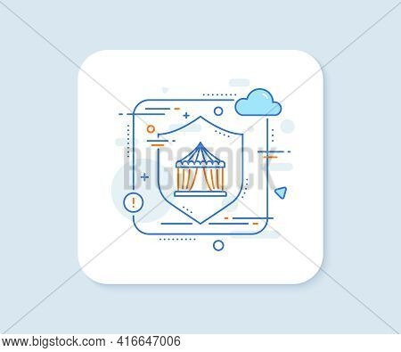 Amusement Park Tent Line Icon. Abstract Vector Button. Circus Tickets Office Sign. Circus Tent Line