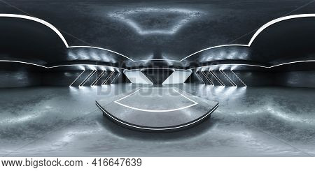 360 Panorama Spherical View Of Futuristic Sci-fi Hallway With Concrete Floor And Reflections 3d Rend
