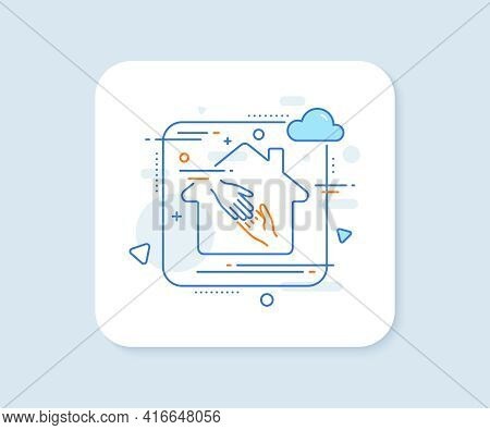Helping Hand Line Icon. Abstract Vector Button. Give Gesture Sign. Charity Palm Symbol. Helping Hand