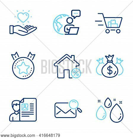Business Icons Set. Included Icon As Shopping Cart, Search Mail, Hold Heart Signs. Check Investment,