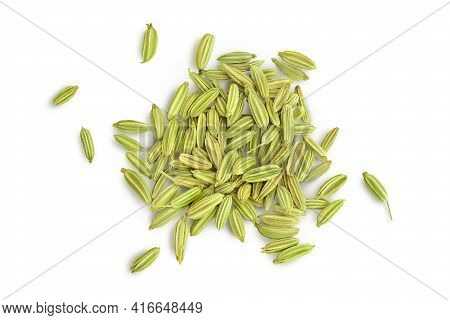Dried Fennel Seeds Isolated On White Background With Clipping Path. Top View. Flat Lay