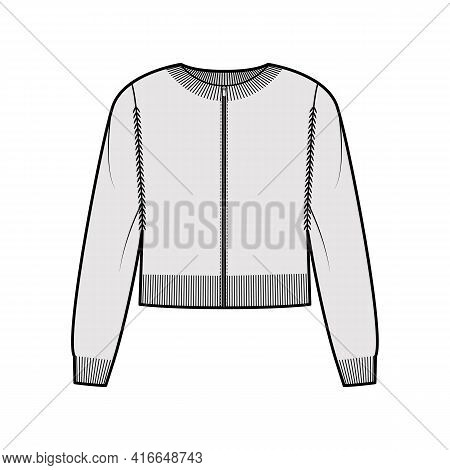 Zip-up Cardigan Cropped Sweater Technical Fashion Illustration With Rib Crew Neck, Long Sleeves, Kni