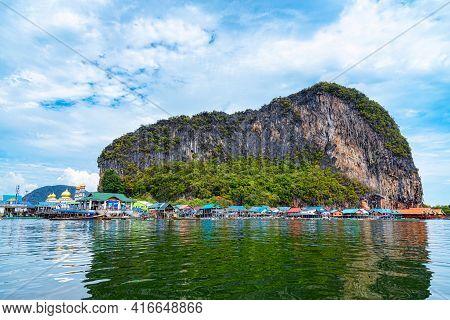 Koh Panyi (koh Panyee) A Famous Floating Village Is A Muslim Fisherman In Phang Nga Bay, Thailand.