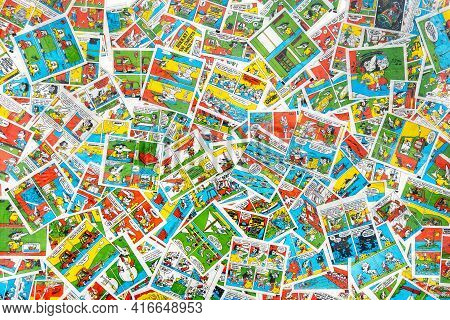 March 28, 2021 Minsk, Belarus. Hobby Collecting Vintage Gum Wrappers Tipitip