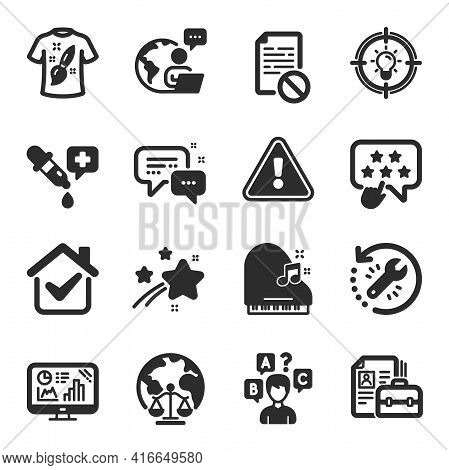 Set Of Education Icons, Such As Wrong File, Piano, Analytics Graph Symbols. Employees Messenger, T-s