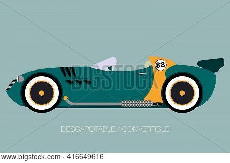 Competition Car, Retro Convertible Car, Spider Vector Car, Cabriolet, Flat Design Style