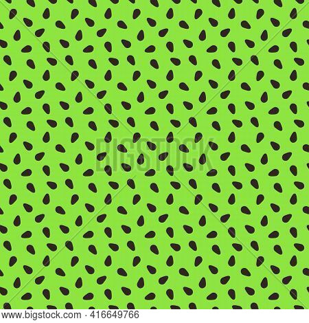 Kiwi Fruit Texture. Exotic Seamless Pattern With Brown Seeds On Green Background. Bright Tropical Su