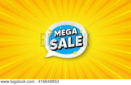 Mega Sale Bubble. Yellow Background With Offer Message. Discount Banner Shape. Coupon Sticker Icon.